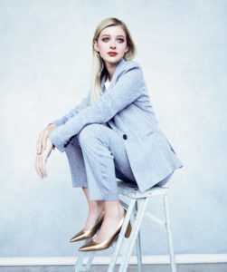 Blue suit available at Dillard's; blouse and metallic shoes available at Stella's Resale.